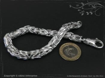 Königskette Armband Rund B8.0L22 massiv 925 Sterling Silber