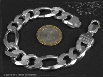 Figaro Panzerkette Armband B13.0L24 massiv 925 Sterling Silber