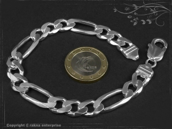 Figaro Panzerkette Armband B9.0L21 massiv 925 Sterling Silber