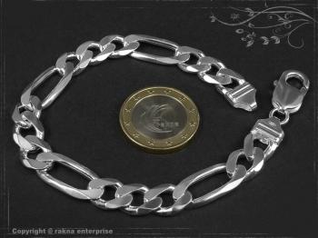 Figaro Panzerkette Armband B9.0L24 massiv 925 Sterling Silber