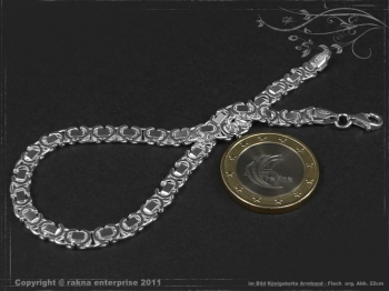 Königskette Armband Flach B4.6L17 massiv 925 Sterling Silber