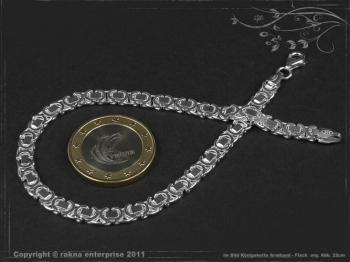 Königskette Armband Flach B4.6L24 massiv 925 Sterling Silber