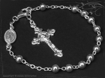 Rosenkranz Armband Design-Kugel-L21 massiv 925 Sterling Silber