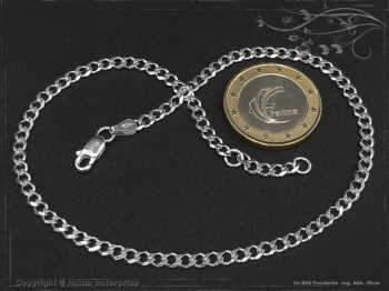 Fußkette Panzerkette B3.0L25 massiv 925 Sterling Silber