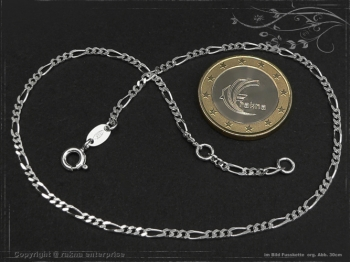Fußkette Figarokette B2.2L27 massiv 925 Sterling Silber