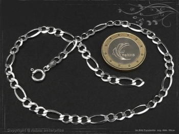 Fußkette Figarokette B4.5L23 massiv 925 Sterling Silber
