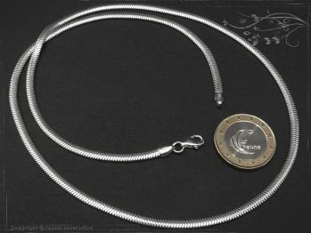 Schlangenkette oval D3.5L80 massiv 925 Sterling Silber