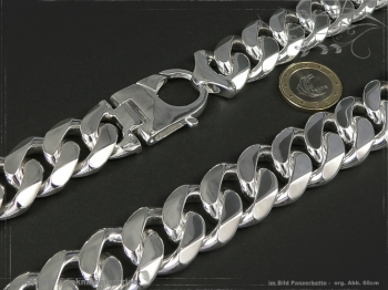 Panzerkette Extra Breit B23.0L80 massiv 925 Sterling Silber