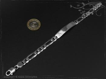 ID Figaroarmband Gravur-Platte B8.0L21 massiv Keramik - Edelstahl