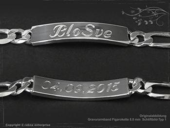 ID Figaroarmband Gravur-Platte B8.0L23 massiv Keramik - Edelstahl