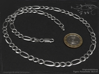 Figarokette  B6.5L70 massiv 925 Sterling Silber