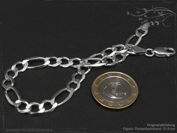 Figaro Panzerkette Armband B6.5L18 massiv 925 Sterling Silber