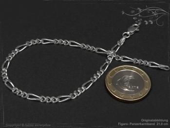 Figaro Panzerkette Armband B3.4L17 massiv 925 Sterling Silber