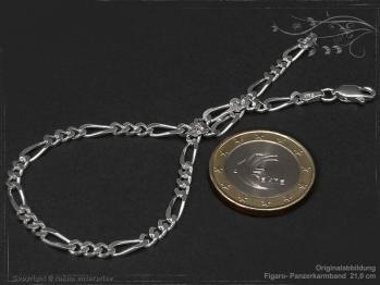 Figaro Panzerkette Armband B3.4L24 massiv 925 Sterling Silber