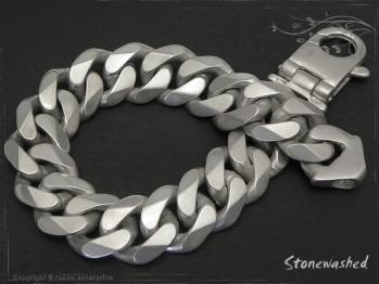 Panzerarmband B14L21 Stonewashed mattiert massiv 925 Sterling Silber