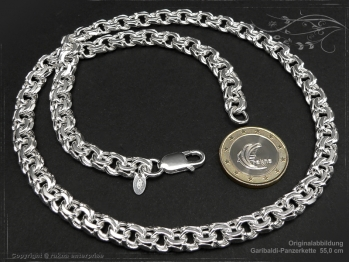 Garibaldikette  B8.5L80 massiv 925 Sterling Silber