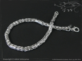 Königskette Armband Rund B4.0L24 massiv 925 Sterling Silber