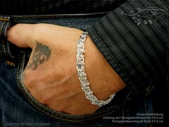 Königskette Armband Flach B9.0L20 massiv 925 Sterling Silber